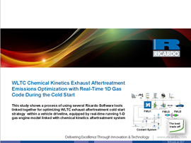 WLTC Chemical kinetics exhaust aftertreatment emissions optimization with real-time 1D gas code during the cold start